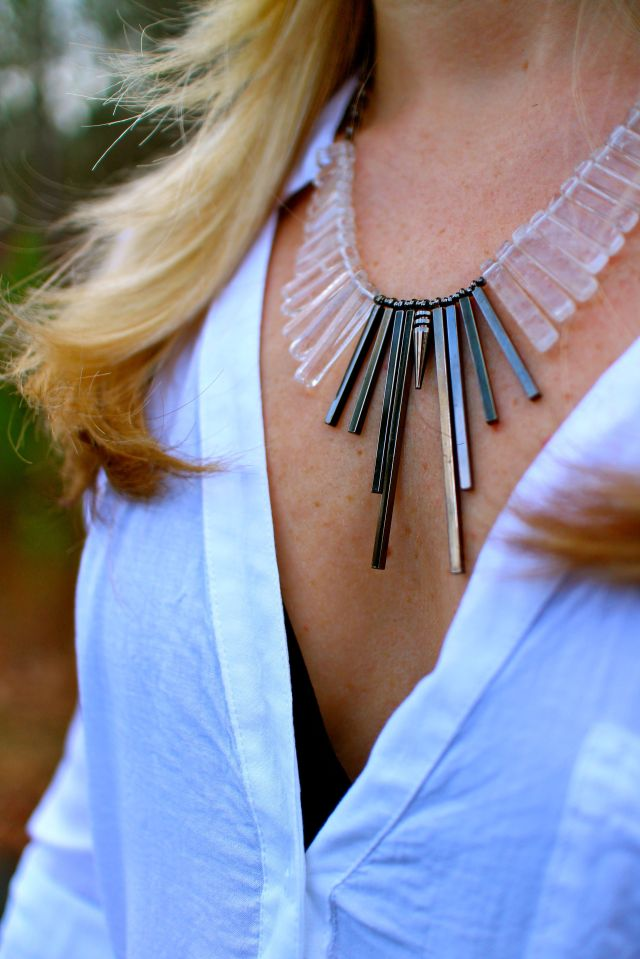 denim fact necklace